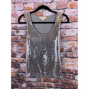 MICHAEL KORS Silver/Gray Tank Cami Sequined Front
